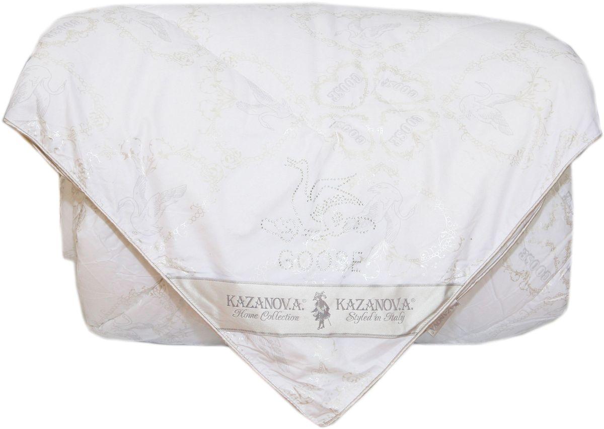 Одеяло KAZANOV.A. Goose Down, цвет: белый, 200 х 220 смК44-826-2.0Одеяло KAZANOV.A. Goose Down имеет в составе наполнителя 100% аффективный гусиный пух. Чехол из высококачественного хлопка повышенной плотности с лазерным напылением - одеяло не требует дополнительного внутреннего чехла, легкое и приятное в использовании, долговечное. Отделка: силуэт гуся стразами над угловой лентой. Эксплуатация: всесезонное, дышащее, гипоаллергенное.