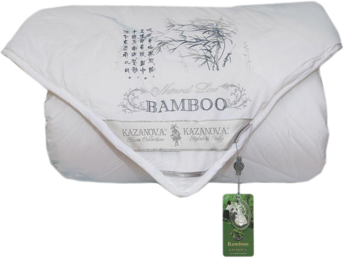 Одеяло KAZANOV.A. Bamboo, цвет: белый, 200 х 220 смS0330100470% бамбук, 30% суперфайн файбер, оптимальное соотношение бамбука и экологичного гипоаллергенного наполнителя-superfine fiber сохраняет полезные свойства бамбука и делает одеяло очень легким и мягким. Чехол из высококачественного хлопка повышенной плотности с лазерным напылением-одеяло не требует дополнительного внутреннего чехла, легкое и приятное в использовании, долговечное. Отделка: вышивка бамбук над угловой лентой, выполненная шелковой нитью.