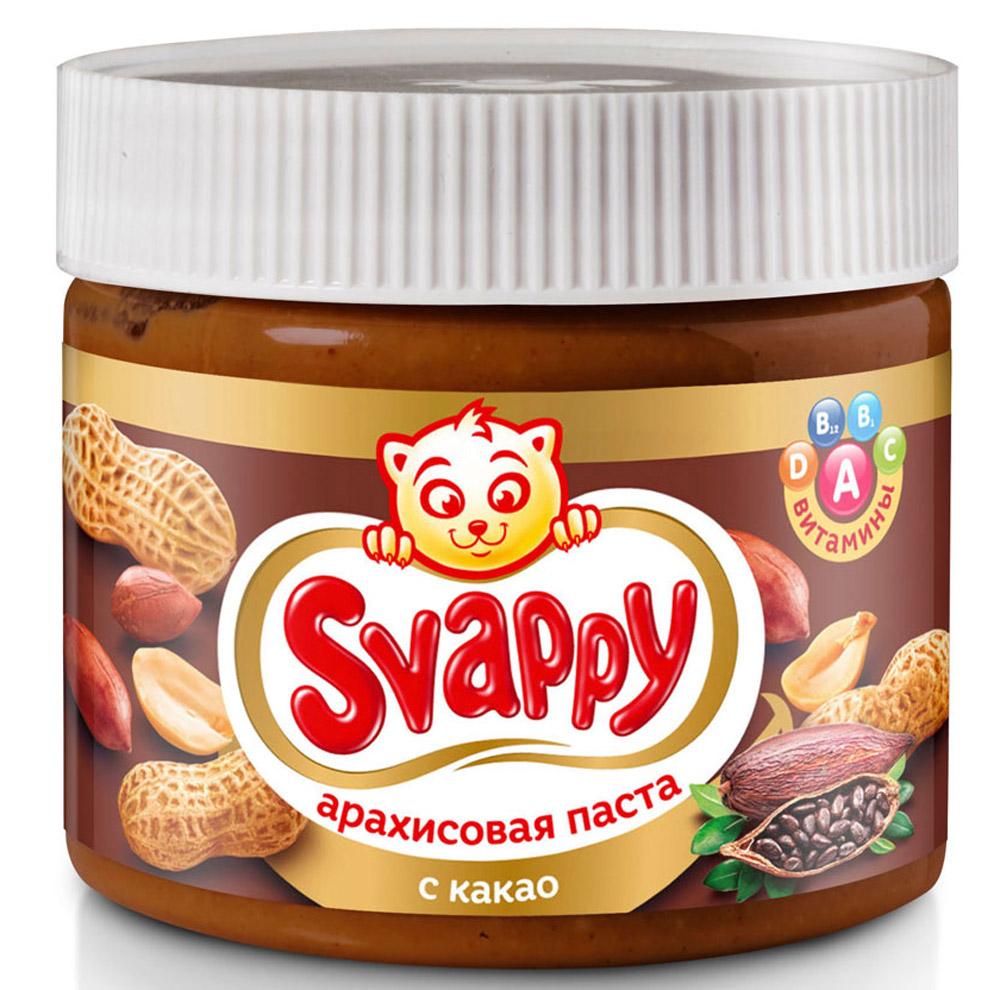 Svappy арахисовая паста с какао, 300 г0120710Арахисовая паста с какао Svappy - эксклюзивный продукт из отборного аргентинского арахиса, выращенного по стандартам контроля GMP. Паста не содержит в себе ГМО, глютена и прочих вредных веществ.Процедура обжаривания арахиса происходит по особой рецептуре, разработанной технологами, также паста имеет приятную консистенцию, не прилипает во время еды и насыщена витаминами A, B1, B2, E, PP.Каждая баночка проходит чуткий контроль технологов и отдела ОТК.Продукция полностью сертифицирована и прошла все лабораторные и бактериологические исследования.Уважаемые клиенты! Обращаем ваше внимание, что полный перечень состава продукта представлен на дополнительном изображении.