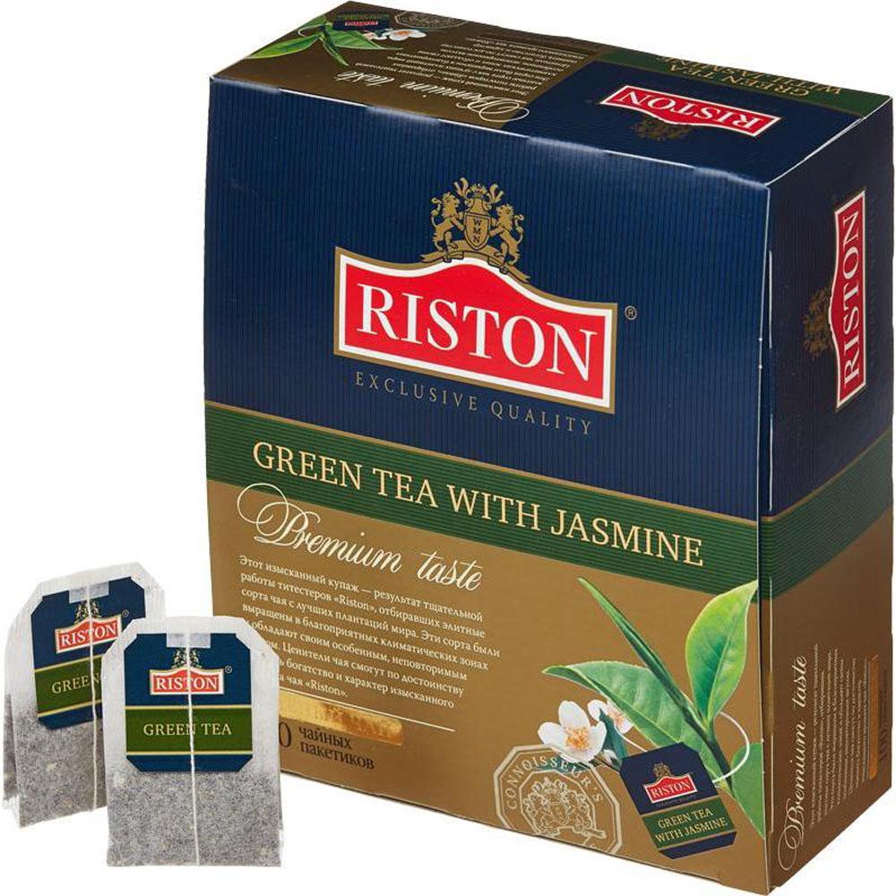 Riston Зеленый чай с жасмином в пакетиках, 100 шт4792156002132Этот изысканный купаж - результат тщательной работы титестеров Riston, отбиравших элитные сорта чая с лучших плантаций мира. Эти сорта были выращены в благоприятных климатических зонах и обладают своим особенным, неповторимым вкусом. Ценители чая смогут по достоинству оценить богатство и характер изысканного аромата чая Riston.В упаковке 100 чайных пакетиков.