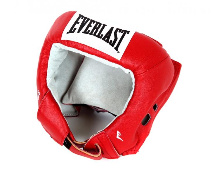 Шлем боксерский Everlast USA Boxing, цвет: красный. Размер LПояс УТ-0000Everlast USA Boxing - боксерский шлем, разработанный для выступления на любительских соревнованиях и одобренный ассоциацией USA Boxing. Плотный четырехслойный пенный наполнитель превосходно амортизирует удары и значительно снижает риск травмы. Качественная натуральная кожа (снаружи) и не менее качественная замша (внутри) обеспечивают значительный запас прочности и отличную износоустойчивость. Подгонка под необходимый размер и фиксация на голове происходят за счет затягивающихся шнурков.Если вы еще ищите шлем для предстоящих соревнований, то Everlast USA Boxing - это ваш выбор!