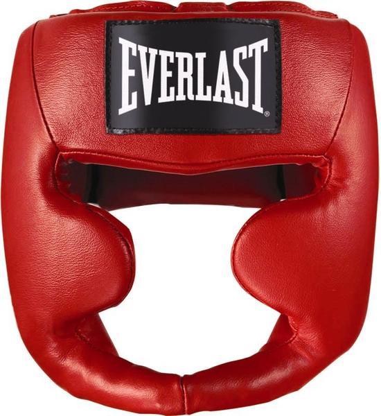 Шлем боксерский Everlast Martial Arts Leather Full Face, цвет: красный. Размер S/MПояс УТ-0000Тренировочный шлем Everlast Martial Arts Leather Full необходим для активных тренировок и спаррингов. Его дизайн специально разработан для полной защиты головы и лица, максимально прикрывая зоны щек, лба и подбородка. Легкий и прочный, он спокойно подгоняется под необходимый размер благодаря удобным застежкам. Шлем изготовлен из качественной синтетической кожи, что обеспечивает солидный запас прочности и долговечности.