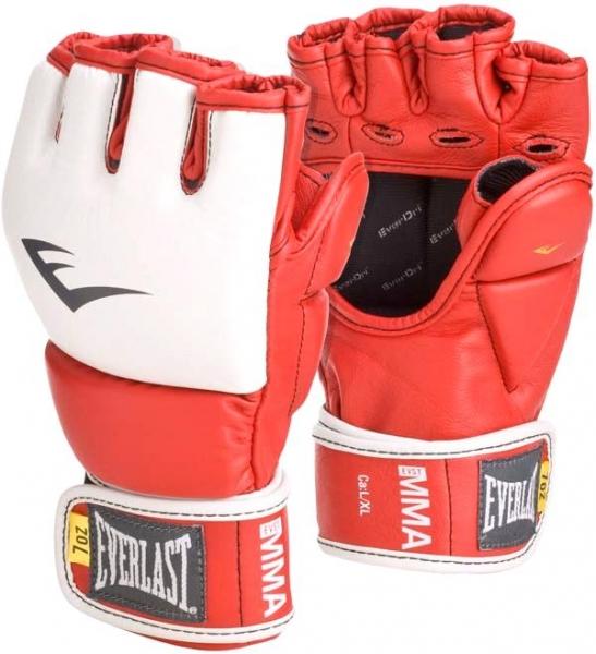 Перчатки тренировочные Everlast MMA Grappling, цвет: красный. Размер S/M7292Тренировочные перчатки Everlast MMA Grappling предназначены для отработки захватов. Натуральная кожа высшего качества вкупе с превосходным дизайном гарантируют долговечность и функциональность. Перчатки идеально повторяют все анатомические изгибы кисти. Защита большого пальца состоит из двух секций для большей свободы, швы на ладони значительно усилены. Обмотки с застежкой на липучке позволяют подогнать перчатки по вашей руке, а также обеспечивают максимальную фиксацию запястья.