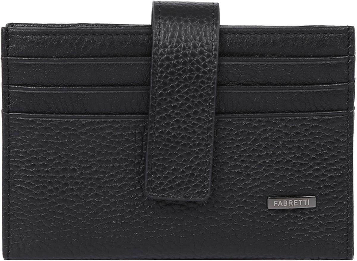 Визитница мужская Fabretti, цвет: черный. 46030-blackINT-06501Классическая визитница от итальянского бренда Fabretti выполнена из натуральной пористой кожи, которая имеет невероятно мягкую и приятную фактуру. С внешней и внутренней стороны модель содержит по 6 отделений, в которых вы сможете расположить свои визитные и дисконтные карточки. Визитница закрывается на прочную застежку.