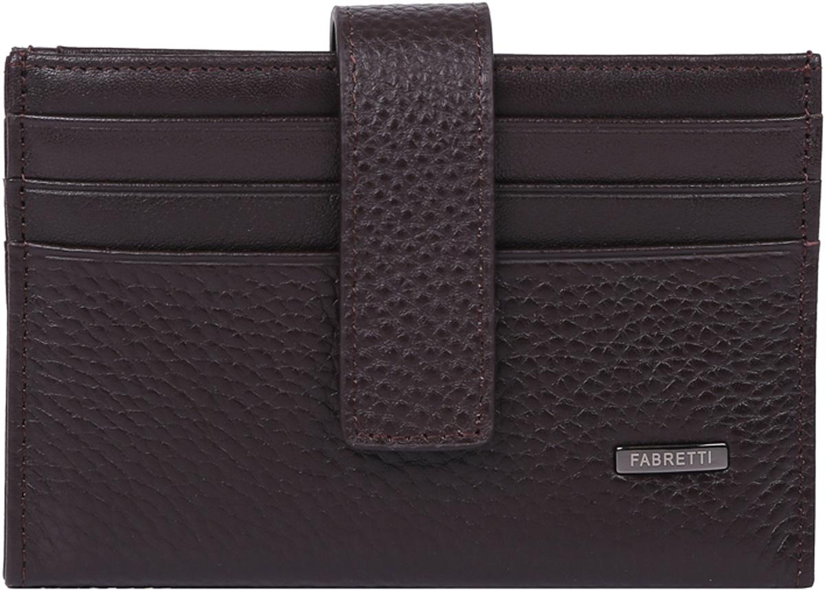 Визитница мужская Fabretti, цвет: коричневый. 46030-coffeeINT-06501Классическая визитница от итальянского бренда Fabretti выполнена из натуральной пористой кожи, которая имеет невероятно мягкую и приятную фактуру. С внешней и внутренней стороны модель содержит по 6 отделений, в которых вы сможете расположить свои визитные и дисконтные карточки. Визитница закрывается на прочную застежку.
