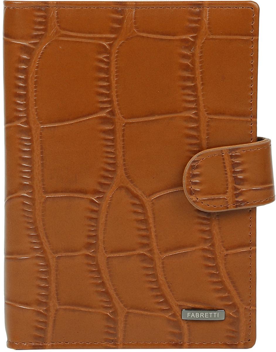 Обложка для документов мужская Fabretti, цвет: коричневый. 53003-tan392678Мужская обложка для документов Fabretti выполнена из натуральной кожи с тиснением.Изделие раскладывается пополам и закрывается на хлястик с кнопкой. Обложка содержит съемный блок из шести прозрачных файлов из мягкого пластика, один из которых формата А5, два боковых прозрачных кармана и отделение для паспорта с тремя боковыми карманами и пятью кармашками для пластиковых карт, один из которых с прозрачным окошком.