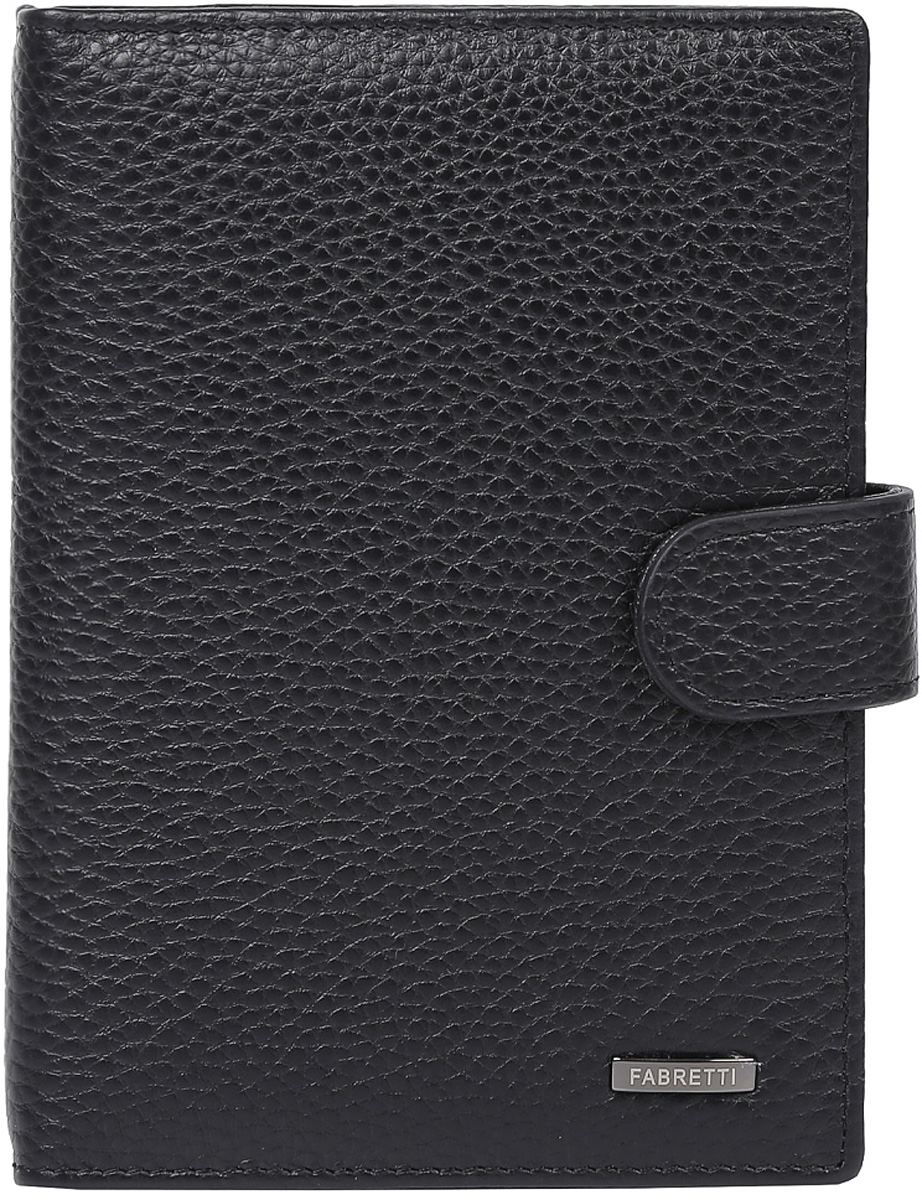 Обложка для документов мужская Fabretti, цвет: черный. 53003/1-blackW16-11135_914Мужская обложка для документов Fabretti выполнена из натуральной кожи.Изделие раскладывается пополам и закрывается на хлястик с кнопкой. Обложка содержит съемный блок из шести прозрачных файлов из мягкого пластика, один из которых формата А5, два боковых прозрачных кармана и отделение для паспорта с тремя боковыми карманами и пятью кармашками для пластиковых карт, один из которых с прозрачным окошком.
