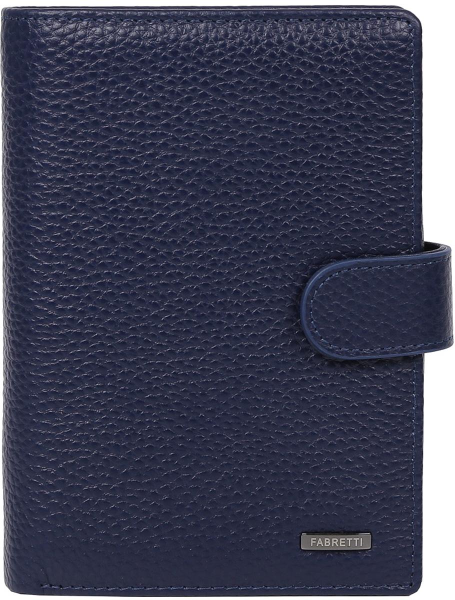 Кошелек мужской Fabretti, цвет: синий. 54006-d.blue1-022_516Удобный мужской кошелек от итальянского бренда Fabretti выполнен из натуральной пористой кожи. Внутри изделия находятся два отделения для купюр, также вы всегда сможете носить свой паспорт и документы с помощью удобного отсека. Кошелек очень вместителен, вы с легкостью расположите все ваши дисконтные и кредитные карты за счет 12 отделов, помимо этого в таком аксессуаре будет удобно хранить мелочь с помощью кармана на кнопке. Изделие застегивается на хлястик с кнопкой.