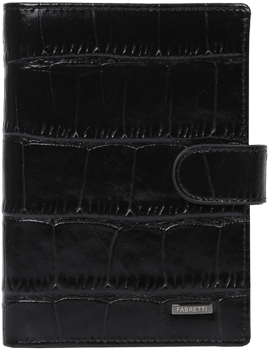 Кошелек мужской Fabretti, цвет: черный. 54022-black cocco495350нМужской кошелек от итальянского бренда Fabretti выполнен из натуральной кожи с изысканным тиснением под рептилию. Внутри модели находятся два отделения для купюр, одно из которых закрывается на молнию. Вы сможете разместить свой паспорт и различные документы с помощью удобного вкладыша, а также 10 кредитных и дисконтных карт. Внутри имеется удобный карман для мелочи на кнопке. Кошелек закрывается клапаном на металлической кнопке.