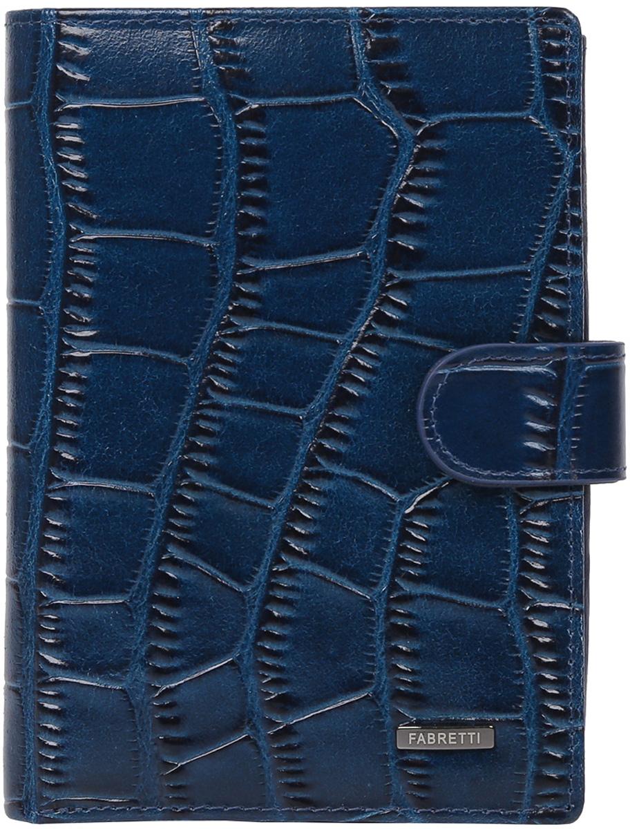 Кошелек мужской Fabretti, цвет: темно-синий. 54022-d.blue cocco392678Мужской кошелек от итальянского бренда Fabretti выполнен из натуральной кожи с изысканным тиснением под рептилию. Внутри модели находятся два отделения для купюр, одно из которых закрывается на молнию. Вы сможете разместить свой паспорт и различные документы с помощью удобного вкладыша, а также 10 кредитных и дисконтных карт. Внутри имеется удобный карман для мелочи на кнопке. Кошелек закрывается клапаном на металлической кнопке.
