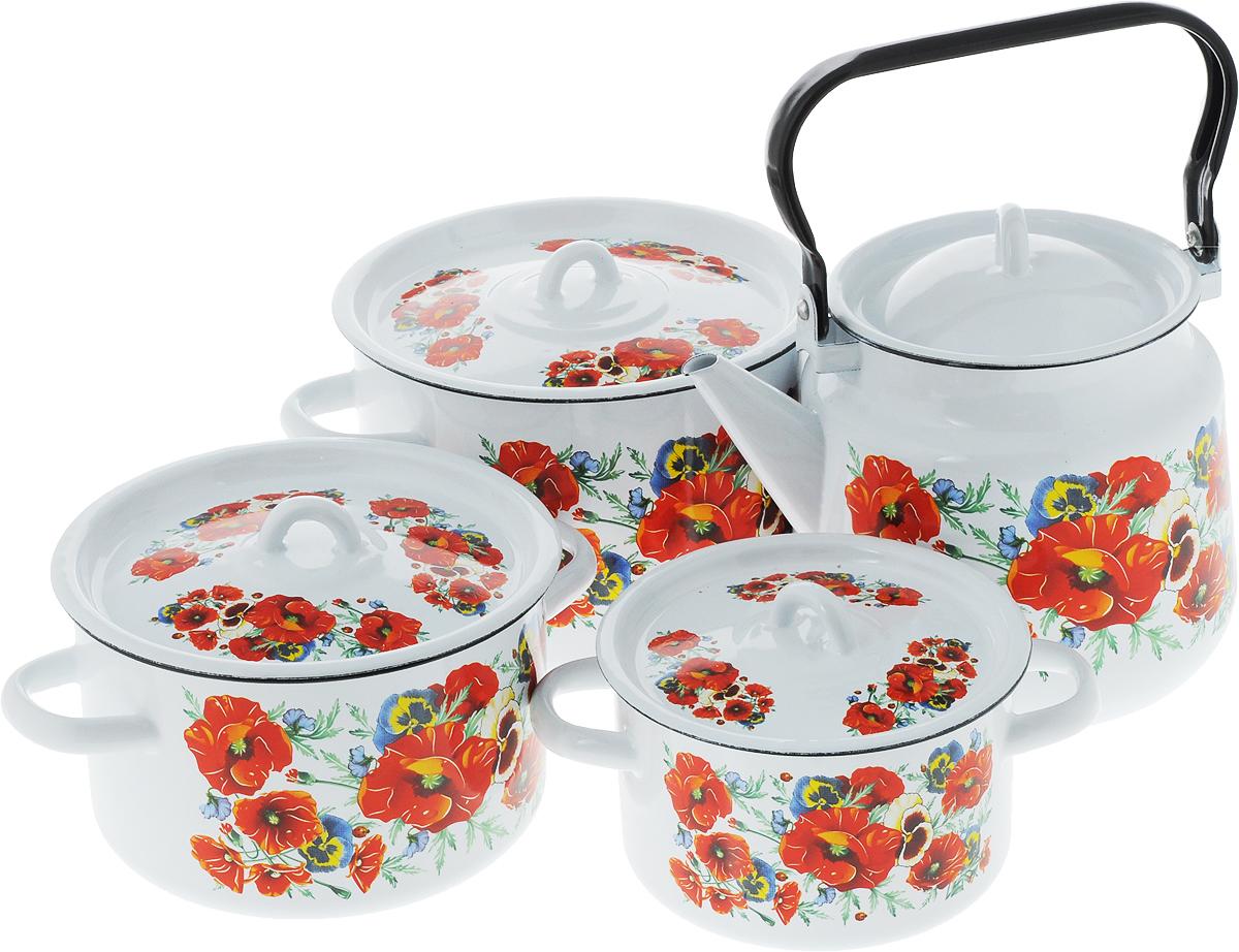 Набор посуды СтальЭмаль Маки мечта, 8 предметов68/5/3Набор посуды СтальЭмаль Маки мечта, состоящий из трех кастрюль и чайника с крышками, изготовлен из высококачественной стали с эмалированным покрытием и оформлен изображением маков.Эмалевое покрытие, являясь стекольной массой, не вызывает аллергии и надежно защищает пищу от контакта с металлом. Внутренняя поверхность идеально ровная, что значительно облегчает мытье. Покрытие устойчиво к механическому воздействию, не царапается и не сходит, а стальная основа практически не подвержена механической деформации, благодаря чему срок эксплуатации увеличивается. Кастрюли и чайник оснащены крышками, выполненными из стали с эмалированным покрытием. Чайник имеет удобную стальную ручку. Подходят для всех типов плит, включая индукционные. Можно мыть в посудомоечной машине. Высота стенок кастрюль: 9,5 см, 11,5 см, 14,5 см. Диаметр кастрюль (по верхнему краю): 16 см, 19 см, 21,5 см.Ширина кастрюль (с учетом ручек): 21 см, 25 см, 28 см.Объем кастрюль: 1,5 л, 2,9 л, 4,5 л. Высота чайника (без учета крышки): 17 см. Диаметр чайника (по верхнему краю): 14 см. Объем чайника: 3,5 л.
