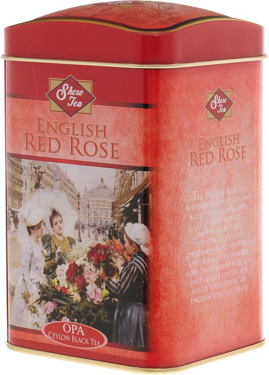 Shere Tea Английская красная роза чай черный листовой, 100 г4791014010616Стандарт ОРА - крупный лист. Листья для этого чая собирают с кустов после того, как почки полностью раскрываются. Для этого сорта собирают первый и второй лист с ветки. В сухой заварке листья должны быть крупными (от 8 до 15 мм), однородными, хорошо скрученными. Этот сорт практически не содержит типсов. Сорт имеет достаточно высокое содержание ароматических масел, и поэтому настой чая очень ароматен. Также этот чай характерен вкусом с горчинкой благодаря большому содержанию дубильных веществ. Кофеина в этом чае немного меньше, так как в нем используют более взрослые листы. Чай имеет яркий, прозрачный, интенсивный настой. Аромат чая полный, приятный, выражен достаточно ярко.Знак в виде Льва с 17 пятнышками на шкуре - это гарантия Бюро Цейлонского Чая на соответствие чая высокому стандарту качества, установленному Правительством и упакованному только в пределах Шри-Ланки.