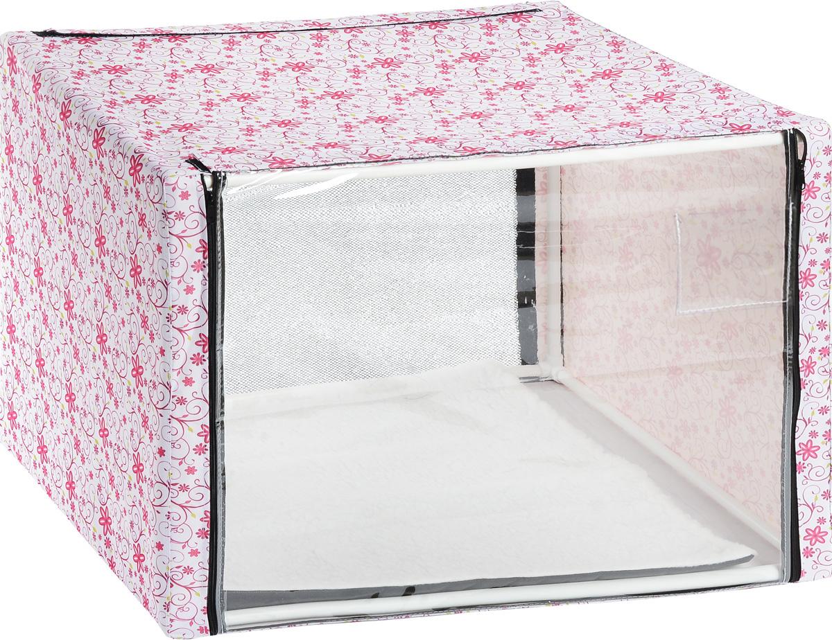 Клетка для животных Elite Valley, выставочная, цвет: белый, розовый, зеленый, 76 х 56 х 56 см0120710Клетка Elite Valley предназначена для показа кошек и собак на выставках. Она выполнена из плотного текстиля, каркас - пластиковые трубки. Клетка оснащена съемной пленкой и съемной сеткой. Внутри имеется мягкая подстилка, выполненная из искусственного меха. Клетка быстро собирается и разбирается.В комплекте сумка-чехол для удобной транспортировки.