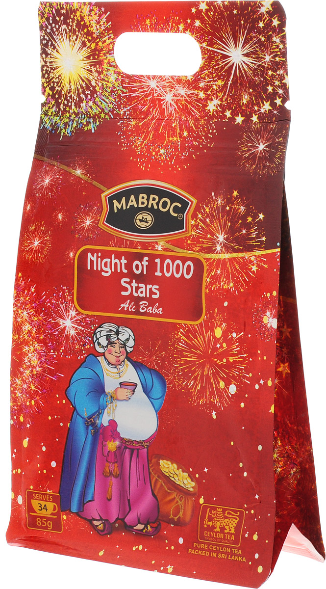 Mabroc Ночь 1000 звезд чай листовой, 85 г0120710Листовой чай Mabroc Ночь 1000 звезд - лидер покупательских симпатий. Это превосходное сочетание черного чая, выращенного в низинных районах Сабарагамувы, и зеленого, растущего высоко в горах Нувара Элии. Прохлада ветров и солнечное тепло, которым ласково укутаны все растения этого района, дарят чаю особенный сладкий вкус, усиленный клубничной вытяжкой, лепестками розы и ноготков.Знак в виде Льва с 17 пятнышками на шкуре - это гарантия Цейлонского Чайного Бюро на соответствие чая высокому стандарту качества, установленному Правительством и упакованному только в пределах Шри-Ланки.
