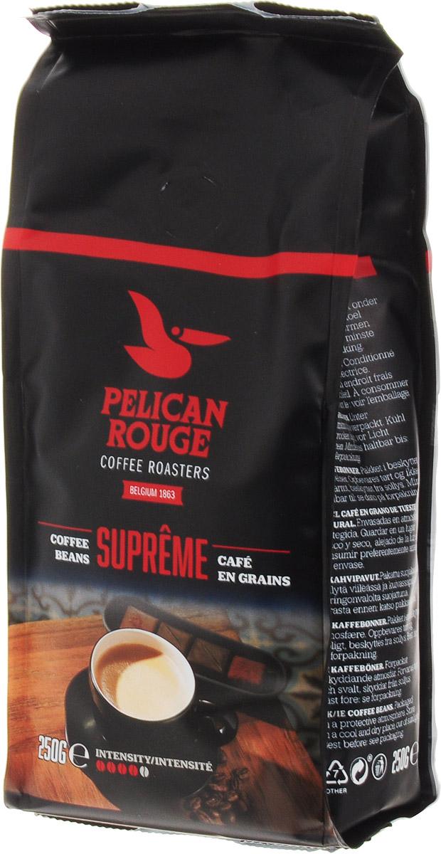 Pelican Rouge Supreme кофе в зернах, 250 г0120710Смесь зерен Арабики и Робусты наивысшего качества темной обжарки. Интенсивный сливочный вкус ириски с мягкой горчинкой и долгим послевкусием. Раскрывается ароматом темного шоколада.Кофе в зернах Pelican Rouge Supreme рекомендуется для приготовления эспрессо, капучино и кофейных напитков с молоком.