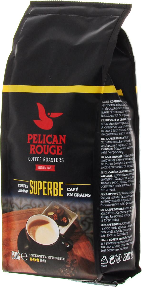 Pelican Rouge Superbe кофе в зернах, 250 г0120710Кофе Pelican Rouge Superbe - смесь лучших зерен Арабики и Робусты темной обжарки. Интенсивное сильное тело с легкой кислинкой и последующим сливочным послевкусием. Хорошо подходит для приготовления эспрессо, капучино и кофейных напитков с молоком.Первый сорт.