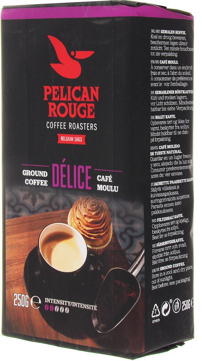 Pelican Rouge Delice кофе молотый, 250 г0120710Молотый кофе Pelican Rouge Delice хорошо сбалансированная 100% Арабика средней обжарки. Бархатистый и изящный вкус с фруктовыми ароматами делает его легким кофе для питья в течение всего дня. Идеально подходит для приготовления фильтр-кофе.Высший сорт.
