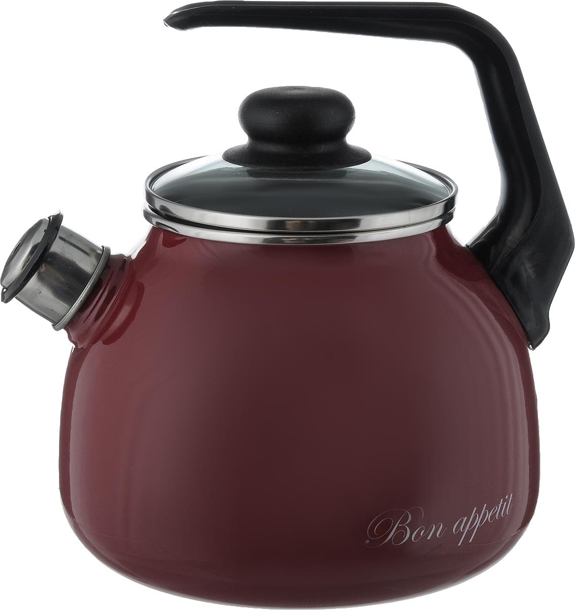 Чайник Vitross Bon Appetit, со свистком, цвет: черный, вишневый, 3 л1RС12Чайник Vitross Bon Appetit изготовлен из высококачественной нержавеющей стали с эмалированным покрытием. Нержавеющая сталь обладает высокой устойчивостью к коррозии, не вступает в реакцию с холодными и горячими продуктами и полностью сохраняет их вкусовые качества. Особая конструкция дна способствует высокой теплопроводности и равномерному распределению тепла. Чайник оснащен удобной ручкой. Носик чайника имеет снимающийся свисток, звуковой сигнал которого подскажет, когда закипит вода. Подходит для всех типов плит, включая индукционные. Можно мыть в посудомоечной машине.Диаметр чайника (по верхнему краю): 12,5 см.Высота чайника (без учета ручки и крышки): 14 см.Высота чайника (с учетом ручки): 24 см.
