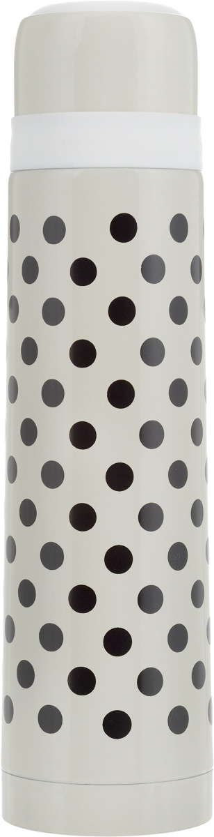 Термос Wellberg, цвет: бежевый, черный, 750 мл115510Термос с узким горлом Wellberg, изготовленный из высококачественной нержавеющей стали и пластика, оформлен принтом в горох. Изделие является простым в использовании, экономичным и многофункциональным. Термос с двойными стенками предназначен для хранения горячих и холодных напитков (чая, кофе). Пробка с кнопкой удобна в использовании и позволяет, не отвинчивая ее, наливать напитки после простого нажатия. Изделие также оснащено крышкой-чашкой. Легкий и прочный термос Wellberg сохранит ваши напитки горячими или холодными надолго. Высота (с учетом крышки): 29 см.Диаметр горлышка: 4,5 см.