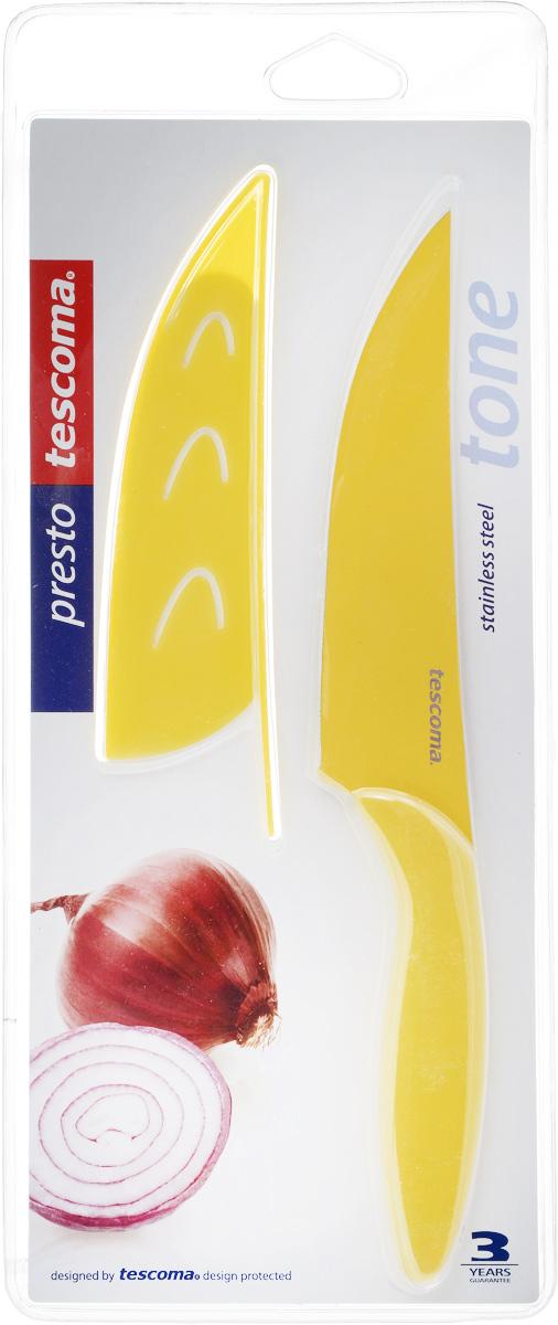 Нож универсальный Tescoma Presto, с чехлом, цвет: желтый, длина лезвия 13 см391602Кухонный нож с непристающим лезвием Tescoma Presto, цвет: желтыйУниверсальный нож Tescoma Presto предназначен для нарезки мяса, овощей, фруктов и других продуктов. Лезвие выполнено из высококачественной нержавеющей стали с антиадгезивным покрытием, а ручка из прочного пластика. Продукты не прилипают к лезвию. Изделие легко чиститься. В комплект входит защитный чехол для бережного хранения. Можно мыть в посудомоечной машине, не рекомендуется использовать металлические губки и абразивные чистящие средства. Общая длина ножа: 22,8 см.
