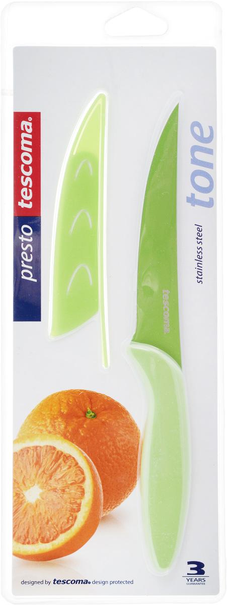 Нож универсальный Tescoma Presto, с чехлом, цвет: зеленый, длина лезвия 12 см нож универсальный tescoma presto tone с чехлом цвет красный длина лезвия 12 см