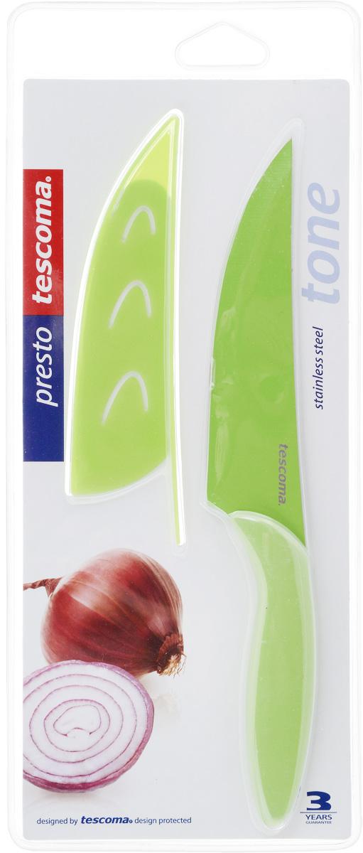 Нож универсальный Tescoma Presto, с чехлом, цвет: зеленый, длина лезвия 13 смFS-91909Кухонный нож с непристающим лезвием Tescoma Presto, цвет: зеленыйУниверсальный нож Tescoma Presto предназначен для нарезки мяса, овощей, фруктов и других продуктов. Лезвие выполнено из высококачественной нержавеющей стали с антиадгезивным покрытием, а ручка из прочного пластика. Продукты не прилипают к лезвию. Изделие легко чиститься. В комплект входит защитный чехол для бережного хранения. Можно мыть в посудомоечной машине, не рекомендуется использовать металлические губки и абразивные чистящие средства. Общая длина ножа: 22,8 см.
