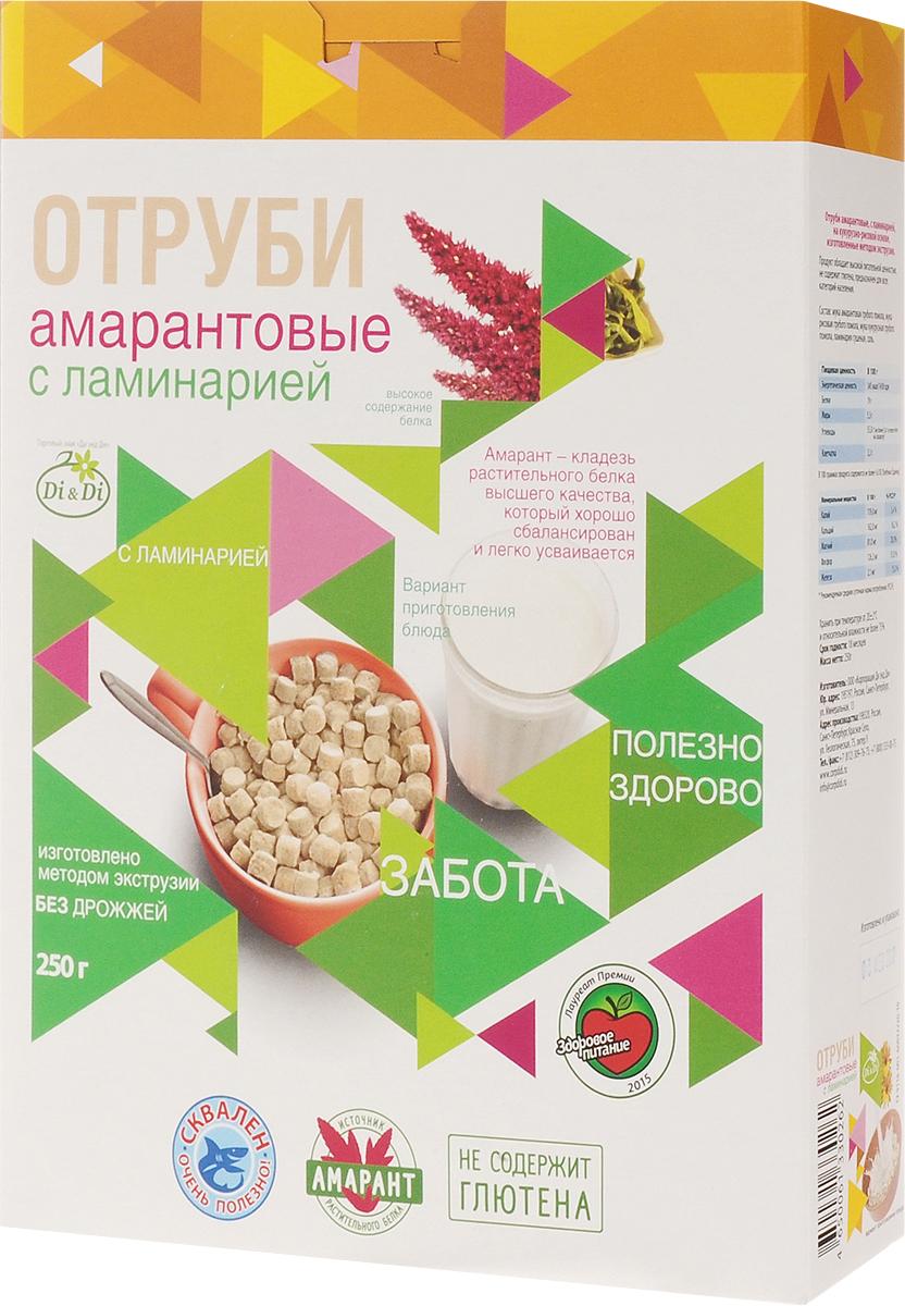 Di & Di отруби амарантовые с ламинарией, 250 г0120710Отруби из амарантовой муки - это новый продукт здорового питания. Амарант - уникальное растение, которое названо ООН продуктом 21 века. Амарант содержит в полтора раза больше (до 17%), чем в пшенице, в три раза клетчатки (до 7%), в четыре раза - минеральных веществ (кальций, железо, фосфор, калий и другие). Амарант - кладезь сбалансированного и легко усвояемого растительного белка, витаминов, полинасыщенных жирных кислот, омега-3 и омега-6, холина, а так же триптофана, способствующего выработке гормона радости - серотонина.Отруби из амарантовой муки обладают высокой питательной ценностью, не содержат глютен и являются полноценным продуктом функционального питания.