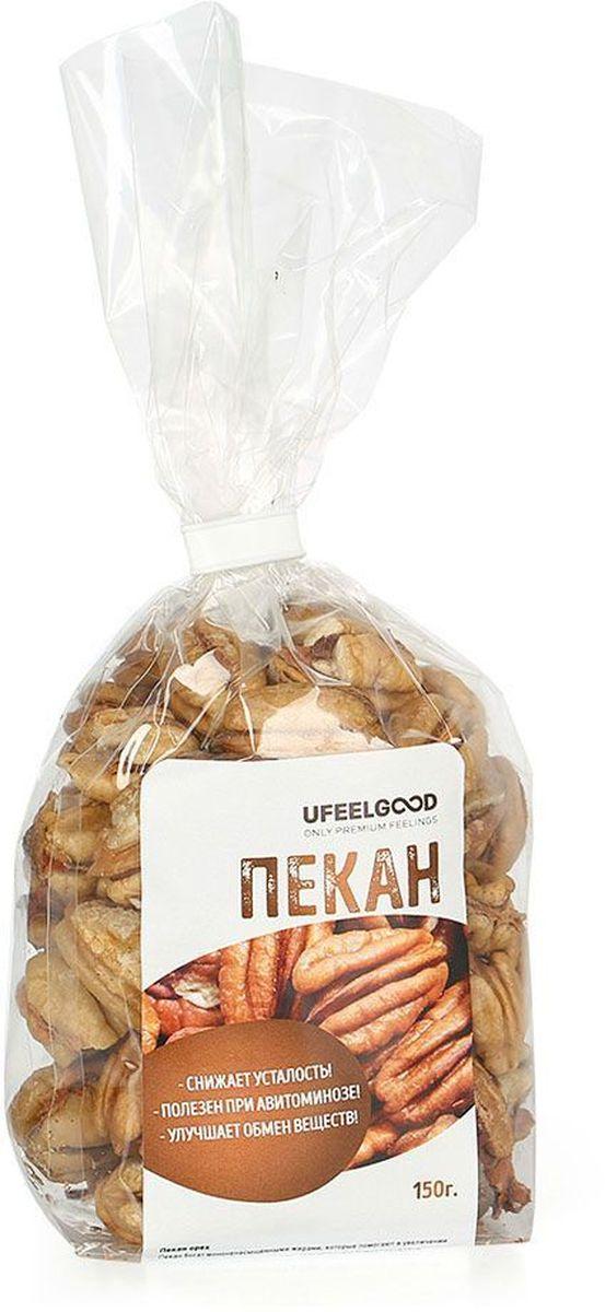 UFEELGOOD Пекан орех, 150 г1089Пекан богат мононенасыщенными жирами, которые помогают в увеличении уровня так называемого хорошего холестерина и снижении уровня плохого. Данный продукт употребляют как сырым, так и жареным или сушеным. Также его добавляют в другие блюда. В Америке очень распространены различные виды сладостей, десертов, в состав которых он входит. Также пекан - любимец ценителей орехов по всему миру, и не зря. Мало того, что орехи пекан очень вкусные, они также содержат питательные вещества, которые делают их идеальной закуской для детей и взрослых.