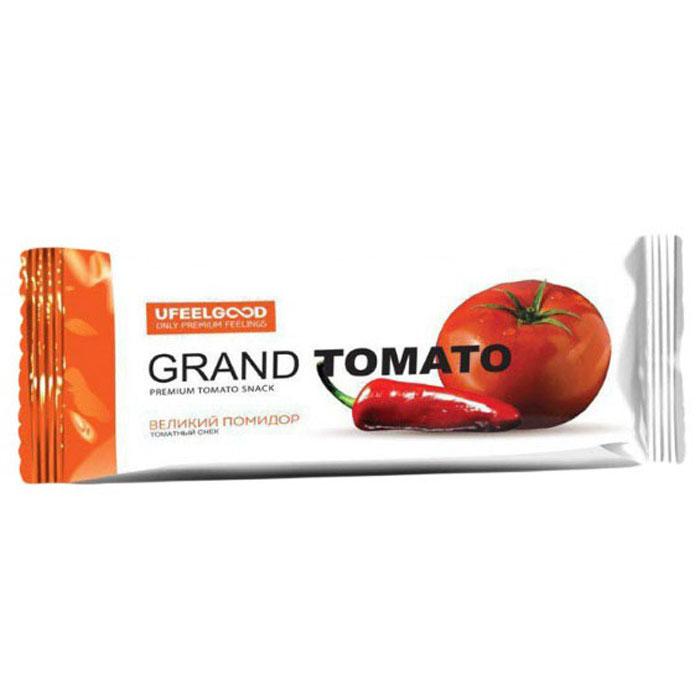 UFEELGOOD Великий помидор томатный снек, 30 г266Томатный снек Великий помидор изготовлен из натуральных продуктов (без дрожжей, молока, яиц и злаковых) и имеет пикантный вкус красного перца Чили.В составе не используются примеси для усиления вкуса, химические вещества, различные стабилизаторы и многое другое. Именно поэтому томатные снек Великий помидор может не только присутствовать в вегетарианском или диетическом меню, но и стать любимым блюдом для людей, ценящих свое здоровье. Уникальность продукта еще в том, что благодаря выверенной технологии производства удалось раскрыть пользу льна на все 100%.