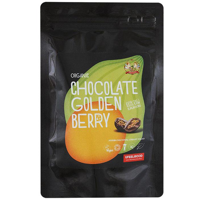 UFEELGOOD Organic Chocolate Golden Berry физалис в сыром шоколаде, 50 г70295_дыня, ананас, арбуз, тропикЯгоды физалиса пользуются большой популярностью во всем мире, а сочетание кисло-сладкого вкуса ягод с нежным шоколадом и щепоткой ванили добавило им еще больше поклонников.Продукт можно употреблять как самостоятельное блюдо, а также добавлять в выпечку, различные смузи, кашу, творог. Золотые ягоды в шоколаде станут отличным перекусом.