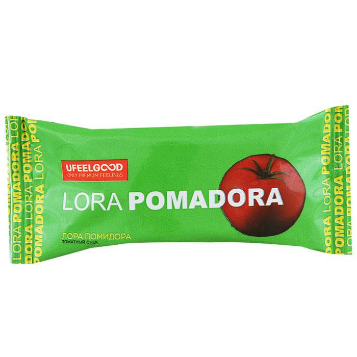 UFEELGOOD Лора Помидора томатный снек, 30 г0120710Томатный снек Лора Помидора изготовлен из натуральных продуктов (без дрожжей, молока, яиц и злаковых).В составе не используются примеси для усиления вкуса, химические вещества, различные стабилизаторы и многое другое. Именно поэтому томатные снеки Лора Помидора могут не только присутствовать в вегетарианском или диетическом меню, но и стать любимым блюдом для людей, ценящих свое здоровье.