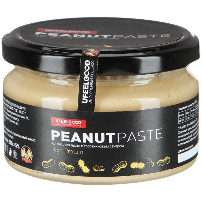 UFEELGOOD Арахисовая паста с тростниковым сахаром, 200 г589Преимущества арахисовой пасты с тростниковым сахаром в том, что она не содержит в своем составе лишних ингредиентов. Ведь зачастую другие производители добавляют в состав растительные масла (хлопковое, рапсовое, соевое, пальмовое и(или) иные) и вводят в композицию эмульгатор.Очень часто в роли эмульгатора выступает соевый лецитин. В связи с этим продукт имеет свойство немного расслаиваться. Это является признаком того, что продукт не эмульгирован и требует перемешивания перед употреблением.