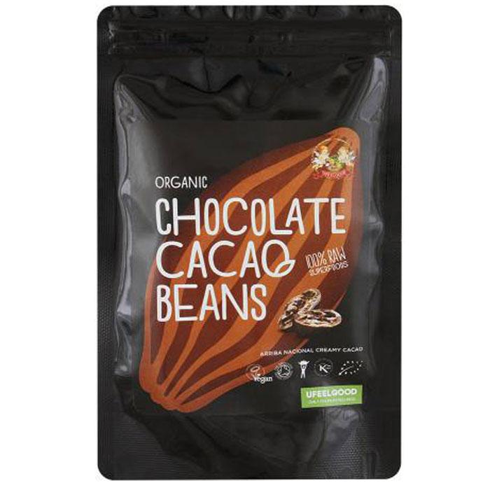 UFEELGOOD Organic Chocolate Cacao Beans какао бобы в сыром шоколаде, 50 г0120710Какао-бобы – уникальный продукт, в составе которого более 300 различных микроэлементов, благотворно влияющих на человеческий организм: магний, калий, селен, фосфор, марганец – и это только сотая доля всех полезных веществ в составе какао-бобов. Процент содержания железа и цинка во много раз превышает их количество в других продуктах. Это один из самых мощных антидепрессантов, который улучшает настроение, приводит в стабильное состояние нервную систему.