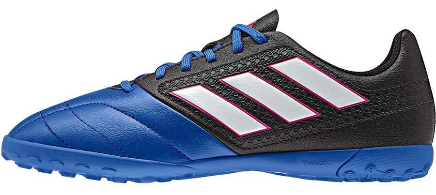 Бутсы для мальчика adidas Ace 17.4 tf j, цвет: синий, черный, белый. BA9247. Размер 32 (31,5)BA9247Бутсы для мальчика Adidas Ace 17.4 tf j с верхом из текстиля, полимера и резины. Легкий и гибкий верх Control Feel повторяет форму стопы для абсолютного контроля мяча. Классическая шнуровка фиксирует модель на стопе. Стелька, выполненная из мягкого текстиля, обеспечивает комфорт и отличную амортизацию. Подошва с шипами гарантирует отличное сцепление с покрытием, технология Total Control предназначена для маневренности и превосходной устойчивости на твердых покрытиях, искусственный газон с коротким синтетическим ворсом.