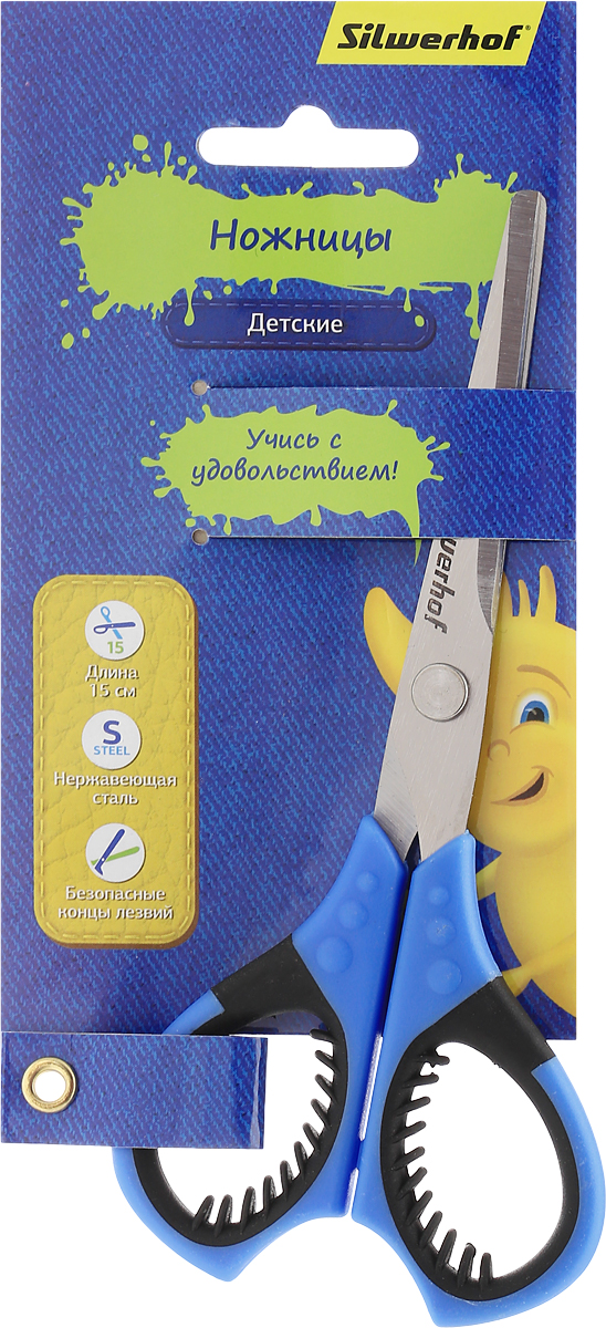 Silwerhof Ножницы детские Джинсовая коллекция цвет синий 15 смFS-54111Детские ножницы Silwerhof Джинсовая коллекция предназначены для резки бумаги, картона, фотографий.Ножницы - отличное дополнение творческого арсенала вашего ребенка. Они выполнены из прочного металла и дополнены удобными пластиковыми ручками с мягкими вставками. Изделие отлично подойдет для изготовления различных поделок и аппликаций. Закругленные концы лезвий уберегут малыша от нечаянных травм. Яркая расцветка модели позволит быстро найти ножницы во множестве предметов для творчества. Продуманный до мелочей аксессуар разработан специально для детей школьного возраста.
