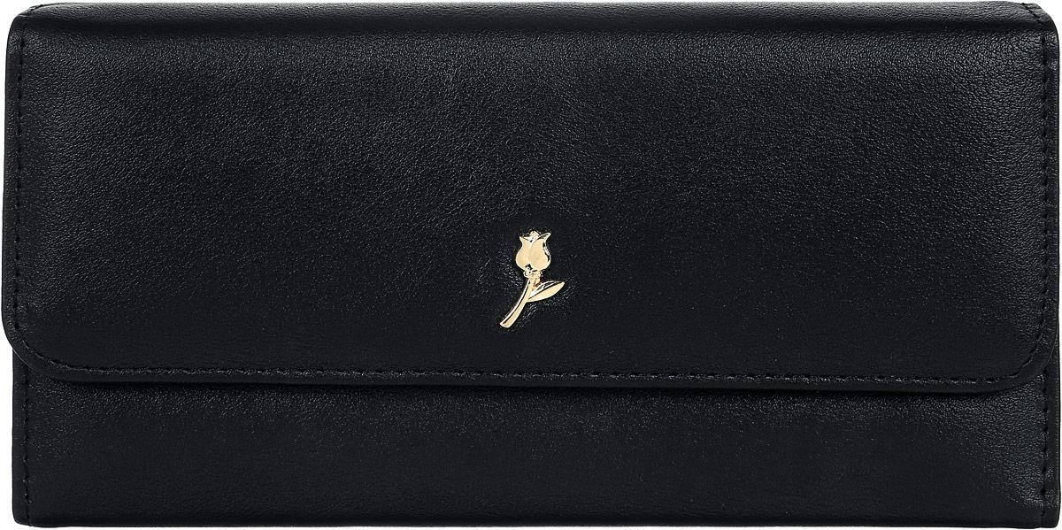 Кошелек женский Leighton, цвет: черный. D-22BM8434-58AEСтильный женский кошелек Leighton выполнен из искусственной кожи и закрывается на кнопку. Подкладка кошелька изготовлена из полиэстера. Изделие содержит три отделения для купюр, карман для мелочи на молнии, один потайной карман, четыре кармана для пластиковых карт.
