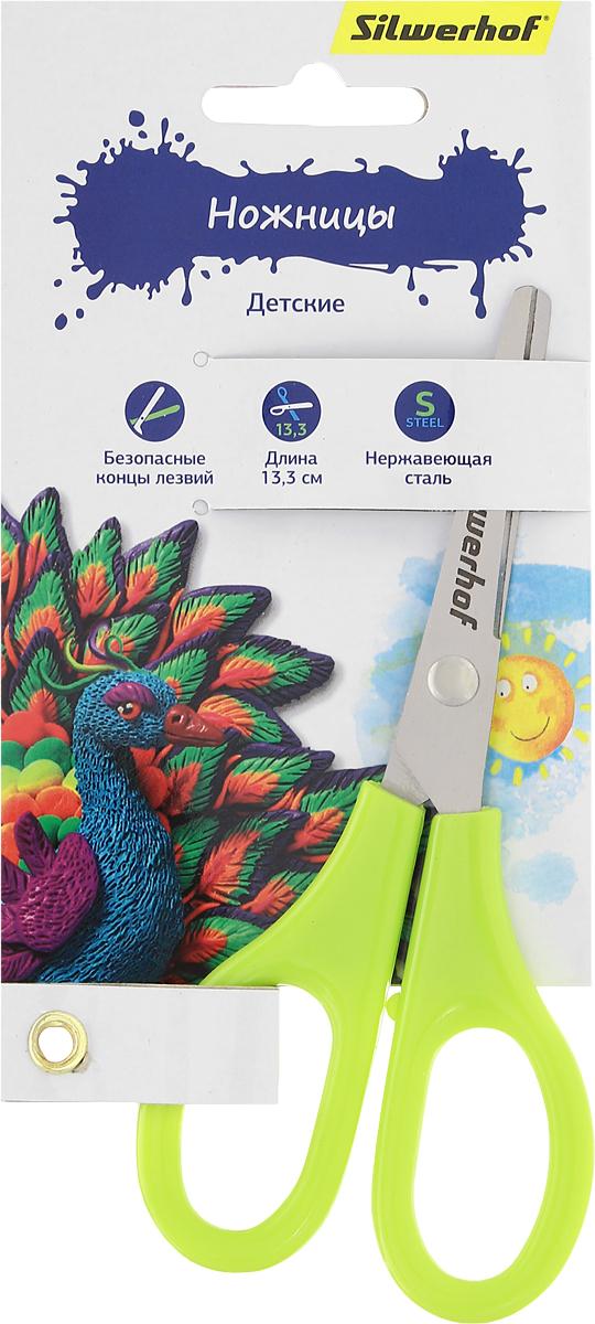 Silwerhof Ножницы детские Пластилиновая коллекция цвет салатовый 13,3 смFS-54110Детские ножницы Silwerhof Пластилиновая коллекция прекрасно подойдут для детского творчества.Лезвия выполнены из высокоуглеродистой стали с закругленными концами, что делает процесс работы с ними безопасным для ребенка. Благодаря эргономичной форме пластиковых ручек, модель отлично ложится как в детскую, так и во взрослую руку.Ножницы хорошо справляются с резкой бумаги, картона и станут незаменимым помощником в процессе создания аппликаций и других поделок.Предназначены для детей от трех лет.
