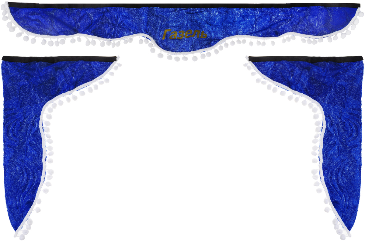 Ламбрекен для автомобильных штор Главдор, на Газель, цвет: синий, белыйSCA-0002MЛамбрекен для автомобильных штор Главдор изготовлен из бархатистого текстиля, оформлен надписью Газель и декорирован кисточками по всей длине. Ламбрекен фиксируется при помощи липучек в верхней области лобового стекла и по сторонам боковых стекол. Такой аксессуар защитит от солнечных лучей и добавит уюта в интерьер салона. Размер ламбрекена на лобовое стекло: 140 х 20 см. Размер ламбрекена на боковое стекло: 60 х 45 см.