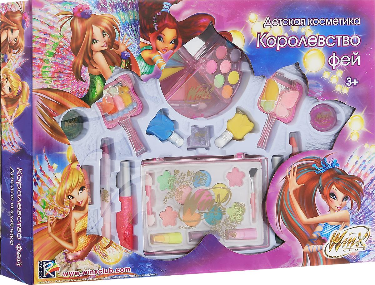 Winx Club Набор детской декоративной косметики Королевство фей81055Набор детской косметики Winx Club Королевство фей (блеск, тени, лаки, помадки, дополнительные элементы) изготовлен под лицензией известного мультсериала. Он включает всё необходимое для создания яркого образа. Яркое, фирменное оформление упаковки, любимые персонажи, качество и безопасность для ребёнка - всё это делает лицензионную продукцию привлекательной и популярной среди покупателей всех возрастов.Рекомендуемый возраст от 3 лет.Не рекомендуется детям до 3-х лет.Уважаемые клиенты! Обращаем ваше внимание, что полный перечень состава представлен на дополнительном изображении.