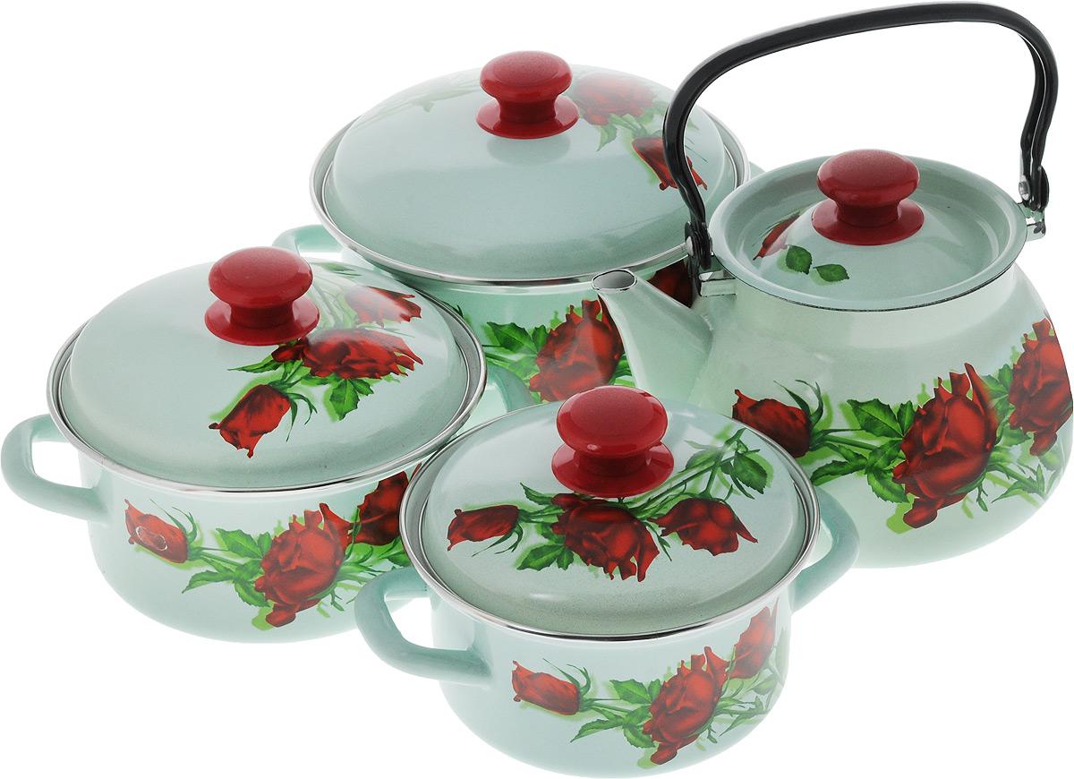 Набор посуды КМК Андорра, 8 предметовАндорраНабор посуды КМК Андорра, состоящий из трех кастрюль и чайника с крышками, изготовлен из высококачественной стали с эмалированным покрытием и оформлен изображением цветов. Эмалевое покрытие, являясь стекольной массой, не вызывает аллергии и надежно защищает пищу от контакта с металлом. Внутренняя поверхность идеально ровная, что значительно облегчает мытье. Покрытие устойчиво к механическому воздействию, не царапается и не сходит, а стальная основа практически не подвержена механической деформации, благодаря чему срок эксплуатации увеличивается. Кастрюли и чайник оснащены крышками, выполненными из стали с эмалированным покрытием. Крышки плотно прилегают к краям кастрюль, предотвращая проливание жидкости и сохраняя аромат блюд, и имеют удобные пластиковые ручки. Подходят для всех типов плит, включая индукционные. Можно мыть в посудомоечной машине. Высота стенок кастрюль: 9,5 см, 10 см, 11,5 см. Диаметр кастрюль (по верхнему краю): 18 см, 20 см, 23 см.Ширина кастрюль (с учетом ручек): 22,5 см, 25 см, 27,5 см.Объем кастрюль: 1,5 л, 2,3 л, 3 л. Высота чайника (без учета крышки): 14 см. Диаметр чайника (по верхнему краю): 14,5 см. Объем чайника: 3 л.