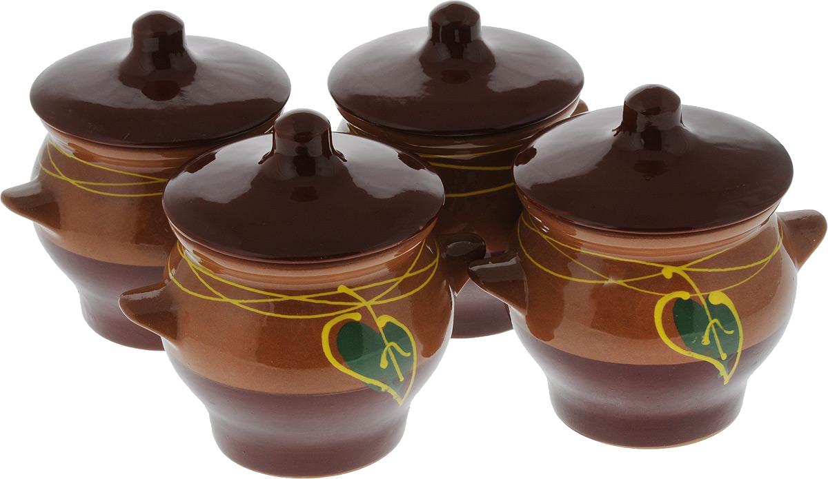 """Набор горшочков для запекания Борисовская керамика """"Стандарт"""", с крышками, цвет: коричневый, желтый, зеленый, 700 мл, 4 шт"""