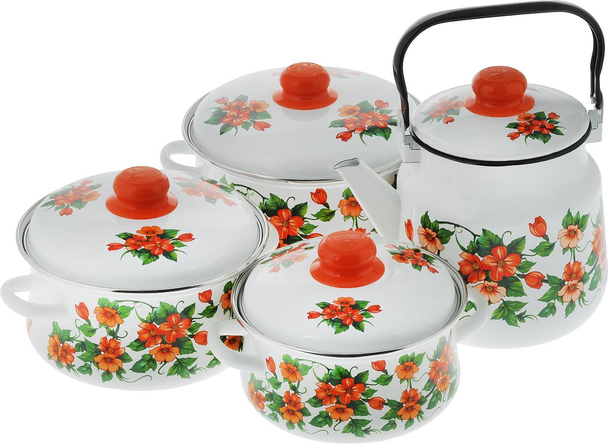 Набор посуды Эмаль Забава, цвет: белый, оранжевый, зеленый, 8 предметов54 009312Набор посуды Эмаль Забава состоит из 3 кастрюль разного объема, 3 крышек и чайника. Изделия выполнены из качественной эмалированной стали. Эмаль защищает сталь от коррозии, придает посуде гладкую поверхность и надежно защищает от кислот и щелочей. Эмаль устойчива к пищевым кислотам, не вступает во взаимодействие с продуктами и не искажает их вкусовые качества. Прочный стальной корпус обеспечивает эффективную тепловую обработку пищевых продуктов и не деформируется в процессе эксплуатации. Внешняя поверхность изделий оформлена красочным изображением. Кастрюли и чайник снабжены стальными крышками с удобными пластиковыми ручками. Чайник имеет прочную подвижную металлическую ручку. Посуда подходит для газовых, электрических, стеклокерамических и индукционных плит. Объем кастрюль: 2 л; 3 л; 4 л. Диаметр кастрюль (по верхнему краю): 19 см; 21 см; 23 см. Ширина кастрюль (с учетом ручек): 24 см; 26 см; 28 см. Высота стенки кастрюль: 10 см; 11,5 см; 13 см. Диаметр индукционного дна кастрюль: 14 см; 15,5 см; 18 см.Объем чайника: 3,5 л. Высота чайника (без учета крышки и ручки): 18 см. Диаметр чайника (по верхнему краю): 15,5 см.Диаметр индукционного дна чайника: 13,5 см.