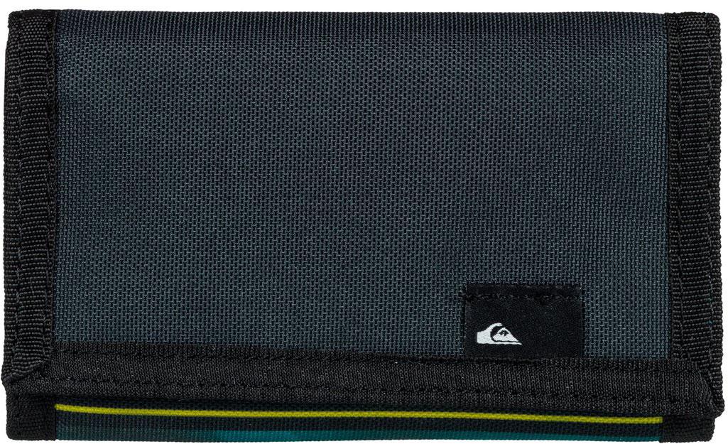 Кошелек мужской Quiksilver The Everyday, цвет: синий, зеленый. EQYAA03468-BFN61-022_516Мужской кошелек от Quiksilver выполнен из полиэстера и оформлен оригинальным принтом. У модели складной дизайн, три секции, внешний кармашек для мелочи на молнии, много отделений для карточек, отделение для банкнот. Застегивается на липучку.