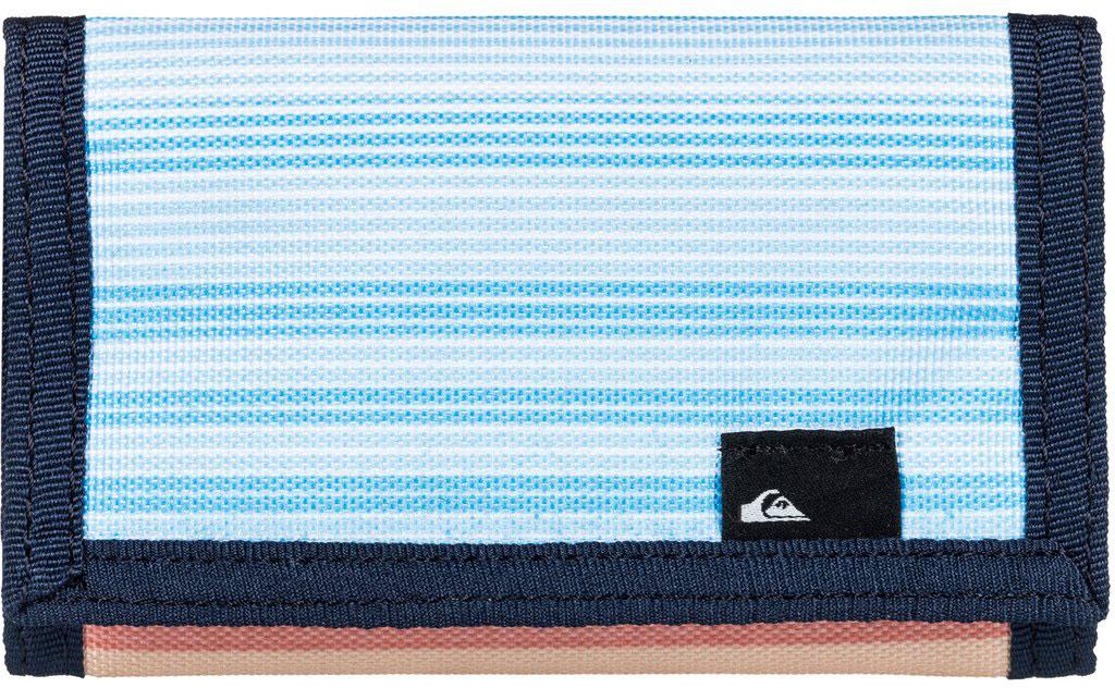 Кошелек мужской Quiksilver The Everyday, цвет: синий. EQYAA03468-MKM6INT-06501Мужской кошелек от Quiksilver выполнен из полиэстера и оформлен оригинальным принтом. У модели складной дизайн, три секции, внешний кармашек для мелочи на молнии, много отделений для карточек, отделение для банкнот. Застегивается на липучку.