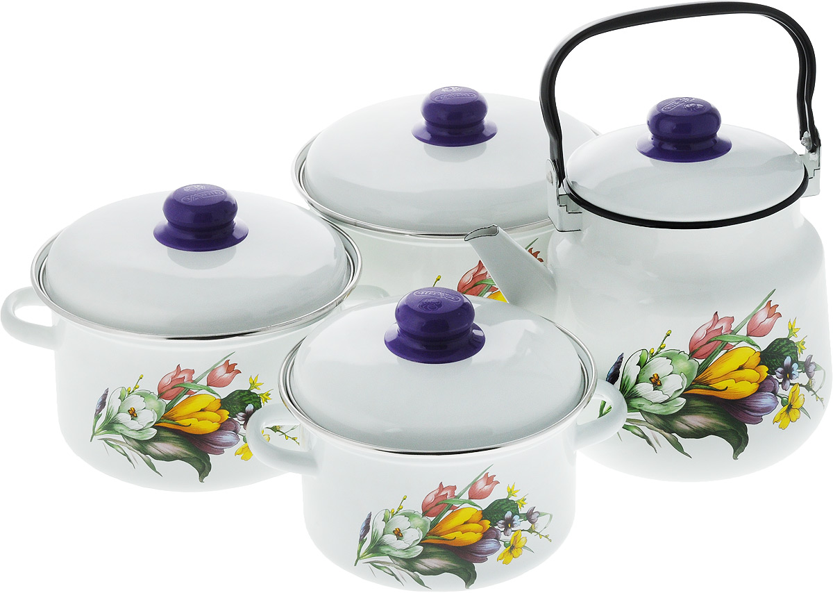 Набор посуды Эмаль Крокусы, 7 предметов54 009312Набор посуды Эмаль Крокусы состоит из 3 кастрюль разного объема, 3 крышек и чайника. Изделия выполнены из качественной эмалированной стали. Эмаль защищает сталь от коррозии, придает посуде гладкую поверхность и надежно защищает от кислот и щелочей. Эмаль устойчива к пищевым кислотам, не вступает во взаимодействие с продуктами и не искажает их вкусовые качества. Прочный стальной корпус обеспечивает эффективную тепловую обработку пищевых продуктов и не деформируется в процессе эксплуатации. Внешняя поверхность изделий оформлена красочным изображением. Кастрюли и чайник снабжены стальными крышками с удобными пластиковыми ручками. Чайник имеет прочную подвижную металлическую ручку. Посуда подходит для газовых, электрических, стеклокерамических и индукционных плит. Объем кастрюль: 2 л; 3 л; 4 л. Диаметр кастрюль (по верхнему краю): 19 см; 21 см; 23 см. Ширина кастрюль (с учетом ручек): 24 см; 26 см; 28 см. Высота стенки кастрюль: 10 см; 11,5 см; 13 см. Диаметр индукционного дна кастрюль: 14 см; 15,5 см; 18 см.Объем чайника: 3,5 л. Высота чайника (без учета крышки и ручки): 18 см. Диаметр чайника (по верхнему краю): 15,5 см.Диаметр индукционного дна чайника: 13,5 см.