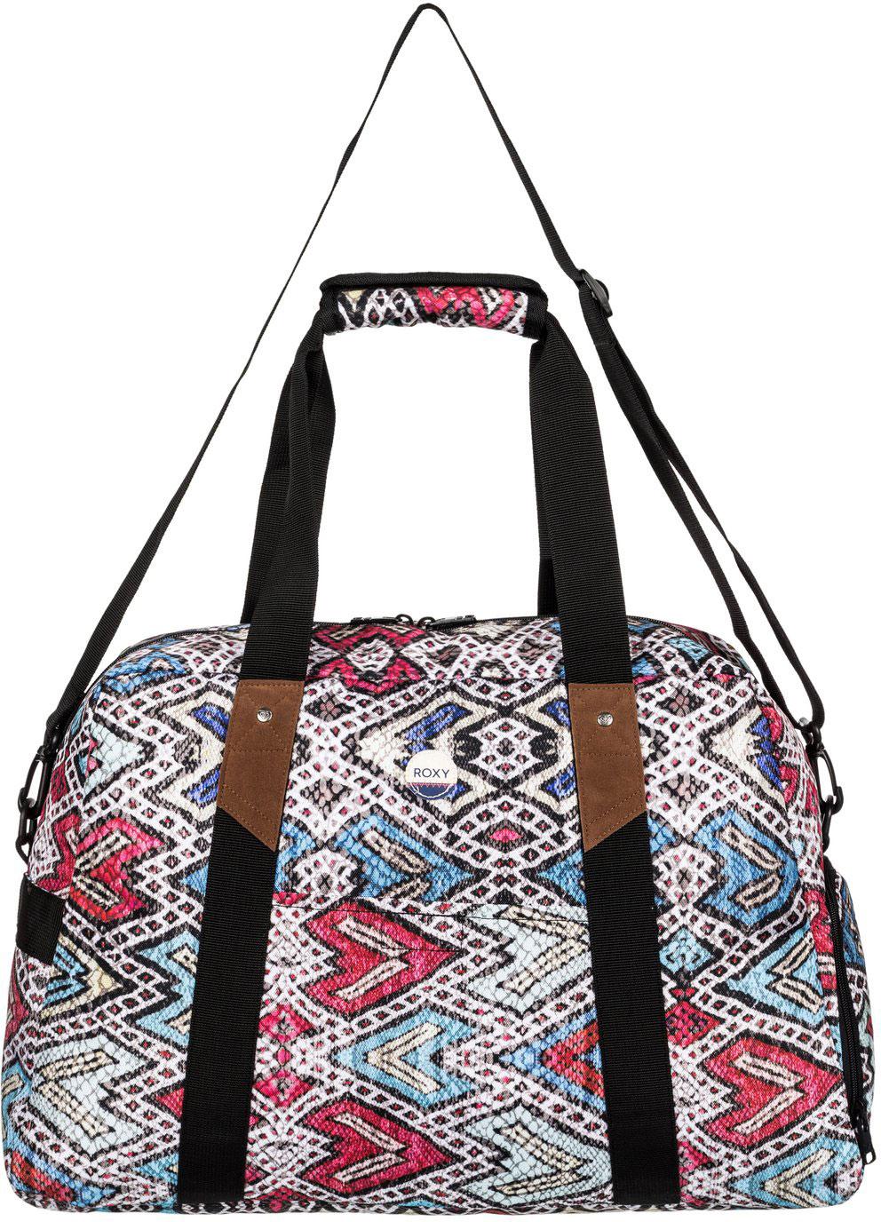 Сумка женская Roxy Sugar It Up, цвет: синий, красный. ERJBP03410-BLA6KV996OPY/MЖенская сумка на плечо от Roxy выполнена из полиэстера. Модель застегивается на молнию, дополнена боковым карманом для обуви, ручкой для переноски в руках с мягким чехлом на липучке Velcro, сеточными вставками и хлопчатобумажной нашивкой. Заплечная лямка съемная и регулируемая в длину.