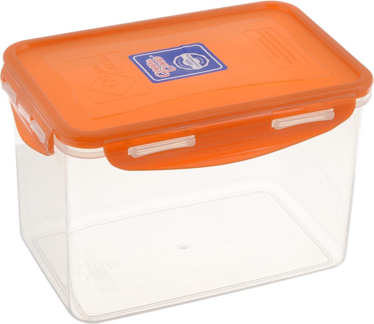 Контейнер пищевой Good&Good, цвет: прозрачный, оранжевый, 2,2 л. B/COL 3-3Аксион Т-33Прямоугольный контейнер Good&Good изготовлен из высококачественного полипропилена и предназначен для хранения любых пищевых продуктов. Благодаря особымтехнологиям изготовления, лотки в течение временислужбы не меняют цвет и не пропитываются запахами. Крышкас силиконовой вставкой герметично защелкиваетсяспециальным механизмом. Контейнер Good&Good удобен для ежедневного использования в быту.Можно мыть в посудомоечной машине и использовать в микроволновой печи.Размер контейнера (с учетом крышки): 20,1 х 13,5 х 13,1 см.