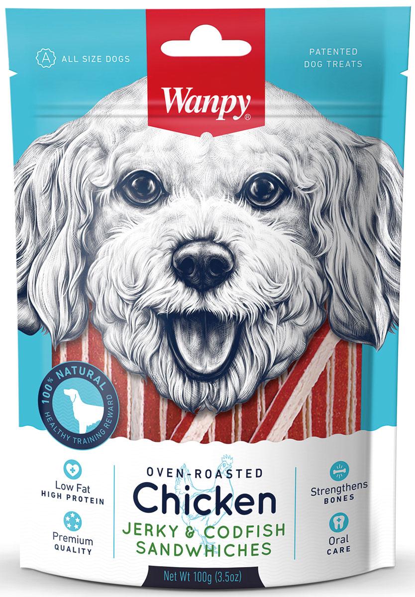 Лакомство для собак Wanpy Dog, курица с треской в форме сэндвича, 100 г0120710Курица с треской в форме сэндвича - вкусное и натуральное лакомство для собак. Внимание! Абсорбент, находящийся внутри упаковки не подлежит скармлению животным, предназначен для предотвращения образования влаги внутри упаковки.Анализ компонентов: сырой белок 28,0%; сырой жир 1,0 %; клетчатка 0,5%; зола 3,0%; влага 30,0%.Состав: курица, глицерин, треска, белки животного происхождения, крахмал, чесночный порошок, разрешенные ЕС красители, соль, сахар, растительное масло. Рекомендации по кормлению: давать в виде дополнения к основному питанию. Свежая вода всегда должна быть доступна вашему питомцу.