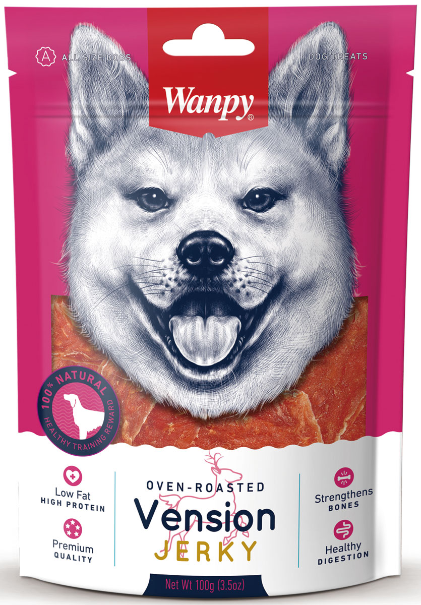Лакомство для собак Wanpy Dog, филе из оленины, 100 г0120710Филе из оленины - вкусное и натуральное лакомство для собак. Внимание! Абсорбент, находящийся внутри упаковки не подлежит скармлению животным, предназначен для предотвращения образования влаги внутри упаковки.Анализ компонентов: сырой белок 62,0%; сырой жир 3,0 %; клетчатка 0,5%; зола 5,5%; влага 18,0%. Состав: оленина, утка, растительный белок, глицерин, мальтитол, соль. Рекомендации по кормлению: давать в виде дополнения к основному питанию. Свежая вода всегда должна быть доступна вашему питомцу.