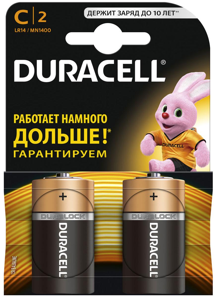 Набор алкалиновых батареек Duracell, тип С, 2 шт набор батареек duracell тип aaa 2 шт